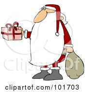 Royalty Free RF Clipart Illustration Of Santa Claus With A Really Long Beard Carrying A Sack And Holding Out A Gift by djart