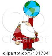 Royalty Free RF Clipart Illustration Of Santa Holding Up An American Globe