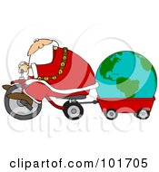 Santa Riding A Trike And Pulling A Globe In A Wagon