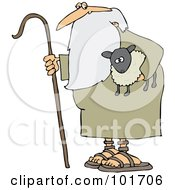 Royalty Free RF Clipart Illustration Of An Old Shepherd Carrying A Cane And A Lamb