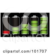 Royalty Free RF Clipart Illustration Of A Digital Collage Of Five Chrome Batteries With Green And Red Juice At Different Charge Levels