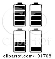 Royalty Free RF Clipart Illustration Of A Digital Collage Of Four Black And White Batteries At Different Charge Levels by michaeltravers
