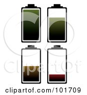 Royalty Free RF Clipart Illustration Of A Digital Collage Of Four Black Battery Outlines With Green Brown And Red Juice At Different Charge Levels by michaeltravers