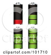Royalty Free RF Clipart Illustration Of A Digital Collage Of Four Chome Batteries With Green And Red Juice At Different Charge Levels by michaeltravers