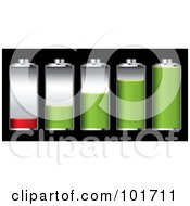 Royalty Free RF Clipart Illustration Of A Digital Collage Of Five Silver Batteries With Green And Red Juice At Different Charge Levels