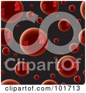 Royalty Free RF Clipart Illustration Of A Background Pattern Of Reflective Red Bubbles On Black by michaeltravers