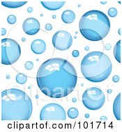 Royalty Free RF Clipart Illustration Of A Background Pattern Of Shiny Blue Bubbles On White