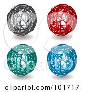 Royalty Free RF Clipart Illustration Of A Digital Collage Of Four Black Red Green And Blue Scribbled Ball Drawings