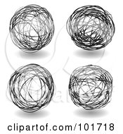 Royalty Free RF Clipart Illustration Of A Digital Collage Of Four Black And White Scribbled Ball Drawings