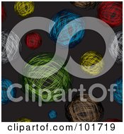Royalty Free RF Clipart Illustration Of A Seamless Pattern Background Of Colorful Scribbled Balls On Black