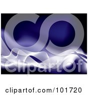 Royalty Free RF Clipart Illustration Of A Background Of White Flowing Waves Over Blue by michaeltravers