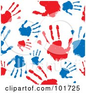Seamless Pattern Background Of Red And Blue Hand Prints On White