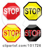 Royalty Free RF Clipart Illustration Of A Digital Collage Of Four Red Yellow And Black Stop Signs