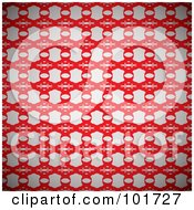 Royalty Free RF Clipart Illustration Of A Background Of A Gray And Red Floral Link Pattern