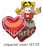 Clipart Picture Of A Paint Brush Mascot Cartoon Character With An Open Box Of Valentines Day Chocolate Candies