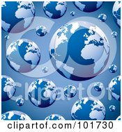 Royalty Free RF Clipart Illustration Of A Seamless Repeat Background Of Blue Globes On Blue by michaeltravers