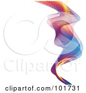Royalty Free RF Clipart Illustration Of A Mesh Colorful Rainbow Wave On White by michaeltravers