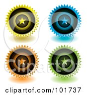 Royalty Free RF Clipart Illustration Of A Digital Collage Of Four Yellow Blue Orange And Green Star Icons