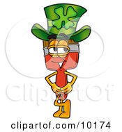 Paint Brush Mascot Cartoon Character Wearing A Saint Patricks Day Hat With A Clover On It