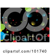 Royalty Free RF Clipart Illustration Of A Background Of Colorful Orbs Or Space Dust On Black