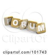 Royalty Free RF Clipart Illustration Of 3d Tan Blocks Spelling FORUM by Jiri Moucka