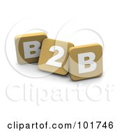 Royalty Free RF Clipart Illustration Of 3d Tan Blocks Spelling B2B by Jiri Moucka