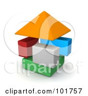 Royalty Free RF Clipart Illustration Of 3d Colorful Blocks Forming A House by Jiri Moucka