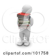 3d Blanco Man Carrying A Pile Of Books