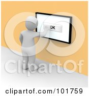Royalty Free RF Clipart Illustration Of A 3d Blanco Man Pushing OK On A Touch Screen On An Orange Wall by Jiri Moucka