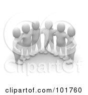 Group Of 3d Blanco Man Huddled