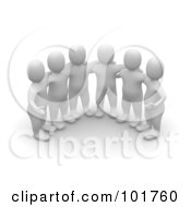Royalty Free RF Clipart Illustration Of A Group Of 3d Blanco Man Huddled