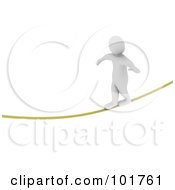 Royalty Free RF Clipart Illustration Of A 3d Blanco Man Walking A Tight Rope