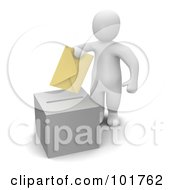 3d Blanco Man Putting A Voting Envelope In A Ballot Box