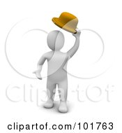 Royalty Free RF Clipart Illustration Of A 3d Blanco Man Lifting His Hat
