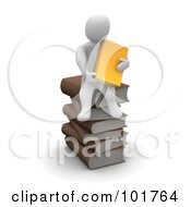 3d Blanco Man Holding An Orange Book And Sitting On A Pile Of Books
