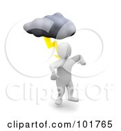 Royalty Free RF Clipart Illustration Of A 3d Blanco Man Being Struck With Lightning
