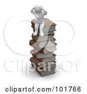 3d Blanco Man Sitting On A Stack Of Books