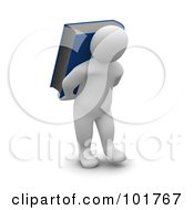 3d Blanco Man Carrying A Book On His Back