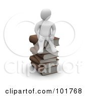3d Blanco Man Sitting On A Pile Of Books