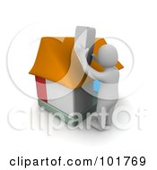 Royalty Free RF Clipart Illustration Of A 3d Blanco Man Constructing A Home by Jiri Moucka