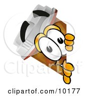 Clipart Picture Of A Pill Bottle Mascot Cartoon Character Peeking Around A Corner by Toons4Biz