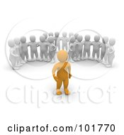 Royalty Free RF Clipart Illustration Of Three Groups Of 3d Blanco Men Watching An Anaranjado Man by Jiri Moucka