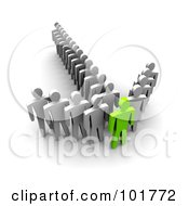 Royalty Free RF Clipart Illustration Of A 3d Green Man In The Front Of An Arrow Of Followers by Jiri Moucka