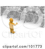 Royalty Free RF Clipart Illustration Of A 3d Anaranjado Man Speaking To A Crowd Of Blanco Men