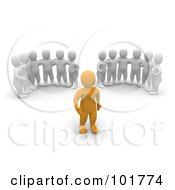 Royalty Free RF Clipart Illustration Of Two Groups Of 3d Blanco Men Watching An Anaranjado Man by Jiri Moucka