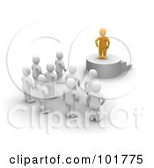 Royalty Free RF Clipart Illustration Of A 3d Anaranjado Man Standing On A Podium And Speaking To Blanco Men by Jiri Moucka