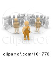 Royalty Free RF Clipart Illustration Of Three Groups Of 3d Blanco Men Watching Anaranjado Men by Jiri Moucka