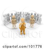 Three Groups Of 3d Blanco Men Watching Anaranjado Men