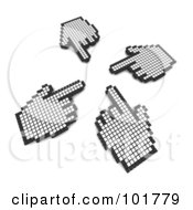 Royalty Free RF Clipart Illustration Of Four Hand Cursors Pointing At The Same Spot by Jiri Moucka