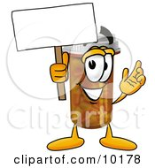 Pill Bottle Mascot Cartoon Character Holding A Blank Sign